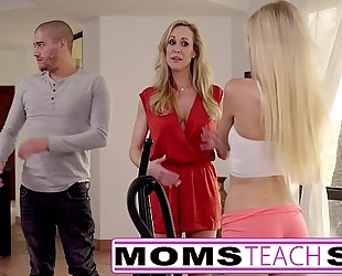 Moms educate sex - large tit mommy catches daughter