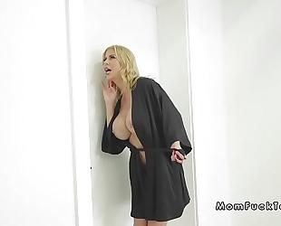Girlfriend with stepmom bangs bf in shower