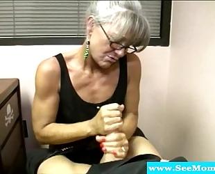 Granny milf with glasses vehement bj