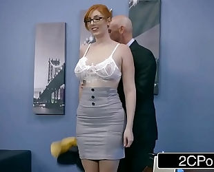 Ginger bimbo lauren phillips acquires pounded at work
