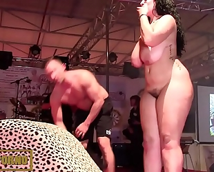 Bbw dark brown fucking large cock on stage