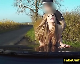 Uk honey fucked right into an asshole by uniformed cop outdoors
