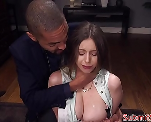 Tied up servitude sub spanked in advance of anal fucking