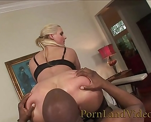 Blonde wench is an anal serf for large dark knob