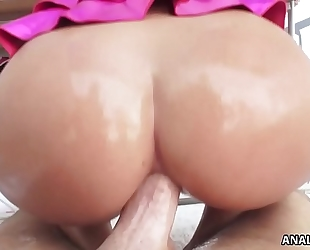 Curvy keisha grey rides a rock hard ramrod anally