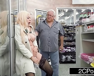 Horny maniac luna star squirts in a public convenience store