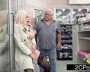 Horny maniac luna star squirts in a public convenience store