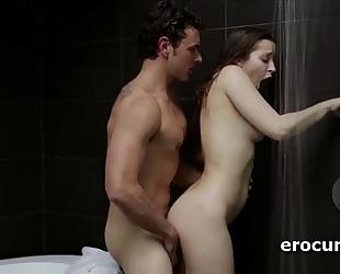 Splendid lustful pair having vehement sex beneath the shower
