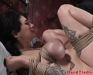 Inked s&m sub fastened up and slapped by maledom