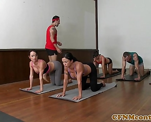Femdom group with diana prince cum exchange