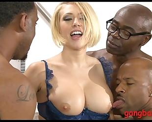 Big boobs floozy analyzed by dark jocks