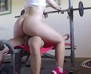 They fuck on the weight machine and this chab cums on her melons. san089