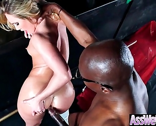 Oiled black cock sluts (aj applegate) with large round gazoo like anal sex clip-02