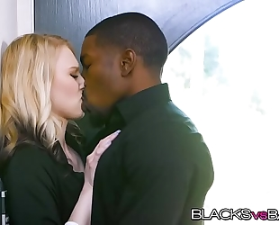 Blonde lily rader rides a huge dark rod