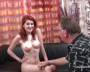 Busty french redhead hottie unfathomable anal screwed with cum on butt for her casting daybed