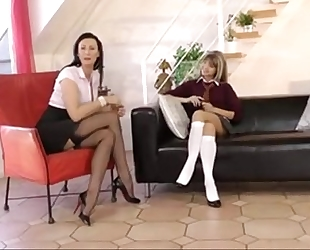 Schoolgirl seduces milf step mamma for lesbo act www.katherinecams.com