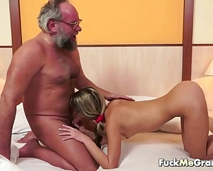 Lucky old bastard bangs pleasant cheating wife