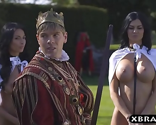 King copulates his breasty excited servants jasmine and anissa