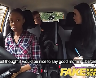 Fake driving school breasty dark white wife fails test with lesbo examiner