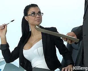Sexy milf jasmine jae plays the office wench addicted to hard schlong