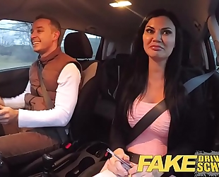 Fake driving school exam failure ends in 3some double creampie