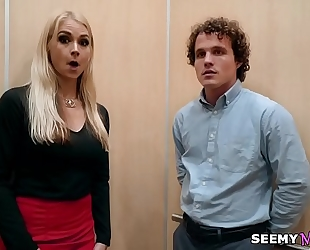 My boss' angry slutwife sarah vandella bonks me in the elevator