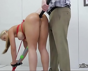 Horny honey is brought in dark hole asylum for painful treatment
