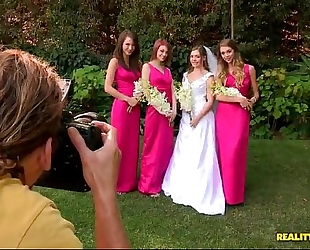 Bride triple teamed by her sexy lesbo bridesmaids on her wedding day