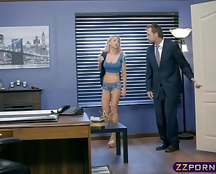 Blonde schoolgirl with large scoops hitchhiking and bonks