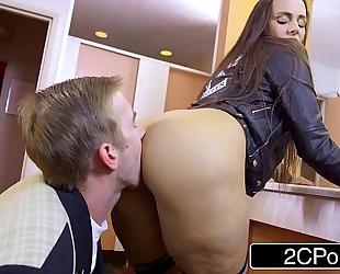 Slutty student mea melone blows her teacher in school crap-house