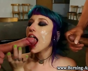 Goth punk wife fuck and facial