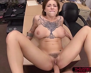 Tattoed and breasty harlow harrison acquires hammered by shawns large wang