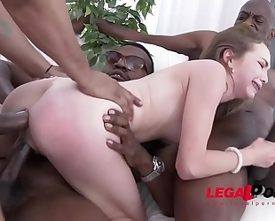 Incredible small floozy angel smalls - interracial double anal - no words!!