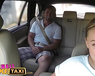 Female fake taxi huge zeppelins cabbie wishes jock on the backseat