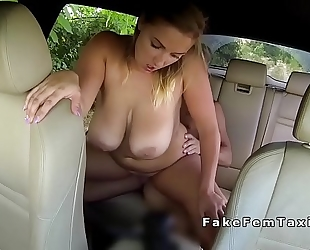 Busty plump cab driver bangs in public