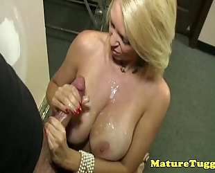 Milf aged acquires spunk flow over love melons after hj