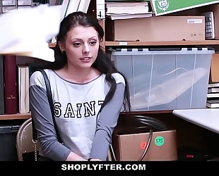 Shoplyfter - hawt legal age teenager in nature's garb down & screwed by two weenies