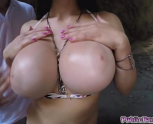 Aletta ocean rides a giant wang in her gazoo in a cave!