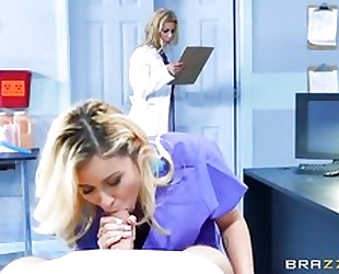 Dr. Fawx and nurse Marsha blowing patient's hard dick