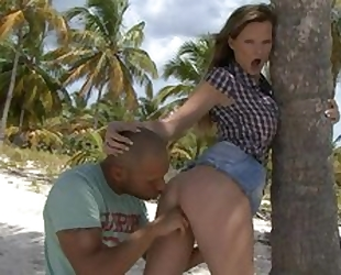 Cock craving damsel with big tits got anally fucked on the beach