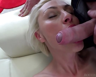 Hungarian blondie with natural boobs takes on huge Italian cock