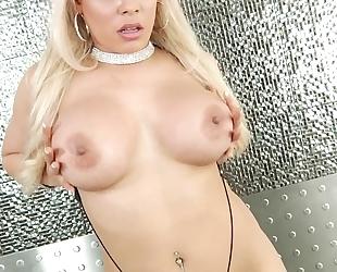 Blonde-haired latina with fake boobs enjoy servicing BBC