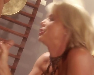 Blonde whore with bubbly tits gets fucked hard on the table
