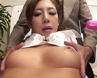 Lubricious Japanese lady gets fucked hard in the office
