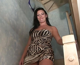Dark-haired MILF serves BBC and takes cum on her face