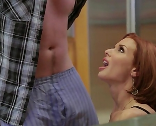 Redhead mature with big boobs seduced her shy stepson