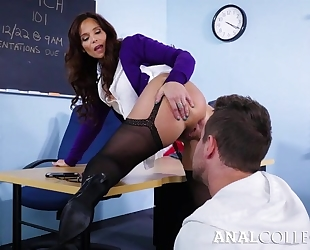 Nasty teacher seduced Van into fucking her asshole