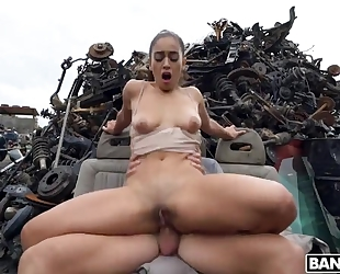 Sexy Spanish girl gets fucked hard at some abandoned junkyard