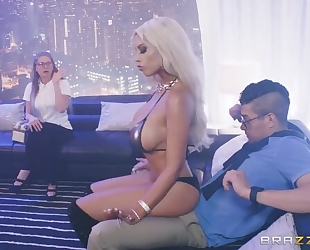Married dude with beautiful cock fucks busty stripper in the ass