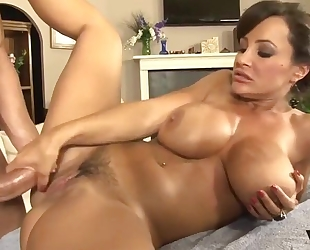 Raunchy MILF with big boobs gets massaged and deeply fucked